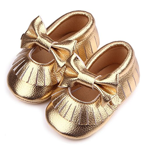 1 Par Nubuck Suave Zapatos De Cuero Primeros Pasos Bucle Del Cordón Para Bebé Niños Lindo Antideslizante - Oro, 12 Oro