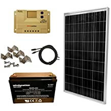 WINDYNATION 100 Watt Solar Panel Kit: 100W Solar Panel + 20A LCD PWM Charge Controller + MC4 Connectors + Z Brackets + AGM 100ah Deep Cycle Battery for 12V Battery off grid, RV, Boat