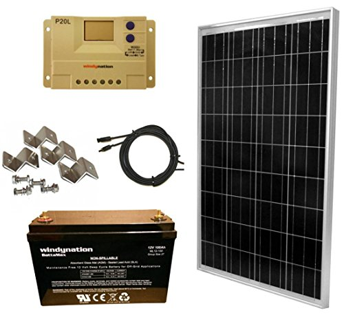 WindyNation 100 Watt Solar Panel Kit 100W Solar Panel 20A LCD PWM Charge Controller MC4 Connectors Z Brackets AGM 100ah Deep Cycle Battery for 12V Battery Off Grid, RV, Boat