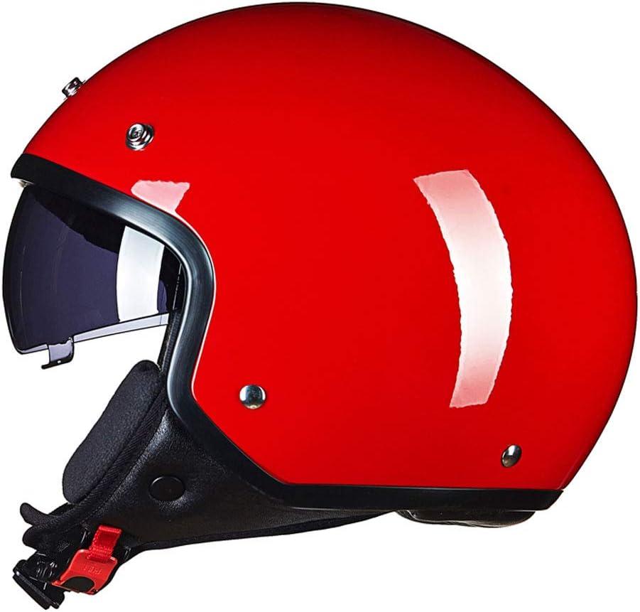 オートバイのヘルメット、レトロハーレー電気の男性と女性、四季の普遍的な人格ハーフヘルメット、夏の太陽の保護UV、冬の暖かい暖かい、黒いグリッド (色 : 赤, サイズ さいず : XL) 赤 X-Large