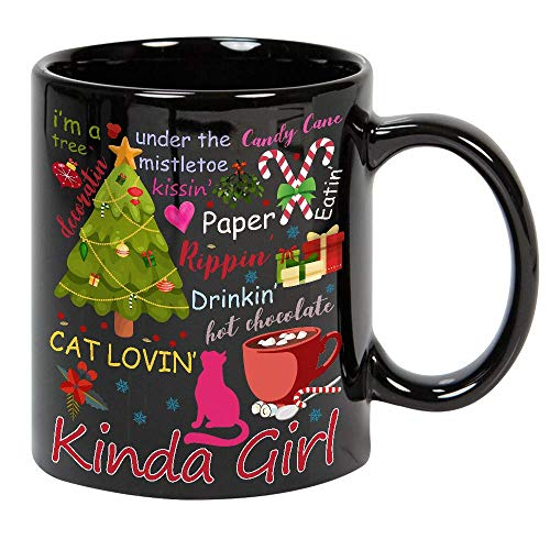 I'm A Christmas Tree Loving Cat Decorating Candy Cane Mistletoe Kinda Girl Drinking Hot Chocolate Cocoa Mug 11oz Ceramic Coffee or Tea Black Mug