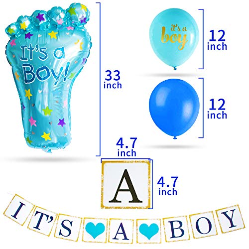 Baby Shower Decorations for Boy I BabyShower Backdrop Decor I Boy Baby Shower Decorations I Premium Party Decoration Items I Its a Boy Banner Star Swirls Foot-shaped Foil Balloon Lanterns, Cake Topper by Moment-O-Mania (Image #5)