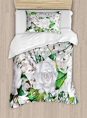 Roses Decorations Duvet Cover Set by Ambesonne, Watercolor Artsy Design of Roses Meaning New Beginning or Farewell Innocence Symbol, 2 Piece Bedding Set with Pillow Sham, Twin / Twin XL, White Green (Sham Meaning Bedding)