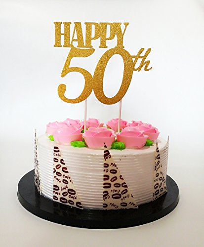 Gold Glitter Happy 50th Birthday Cake Topper Forever 50 Party Favors Decoration