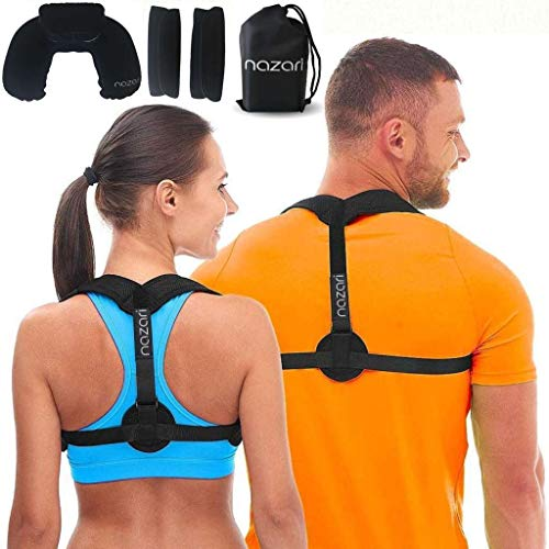 (Posture Corrector for Women and Men - Adjustable Back Brace Support for Shoulder Back and Neck Pain Relief - Scoliosis Kyphosis and Clavicle Brace - Plus Neck Pillow and Travel Bag)