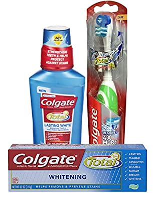 Colgate Total Whitening Mouthwash, Toothpaste and Battery Toothbrush Bundle (3 items)