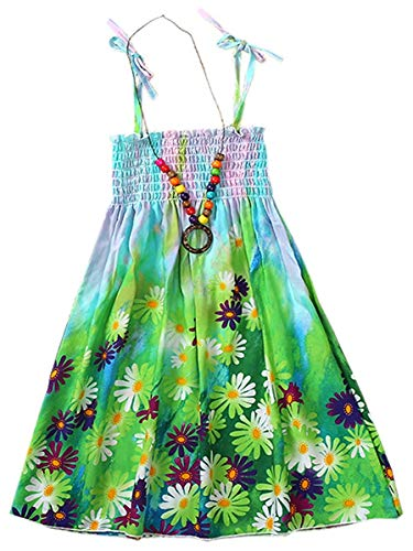 Children Girls Floral Daisy Flowers Print Spaghetti Strap Beach Sundress Hawaiian Sun Dress, Green, 6-7 Years = Tag 140