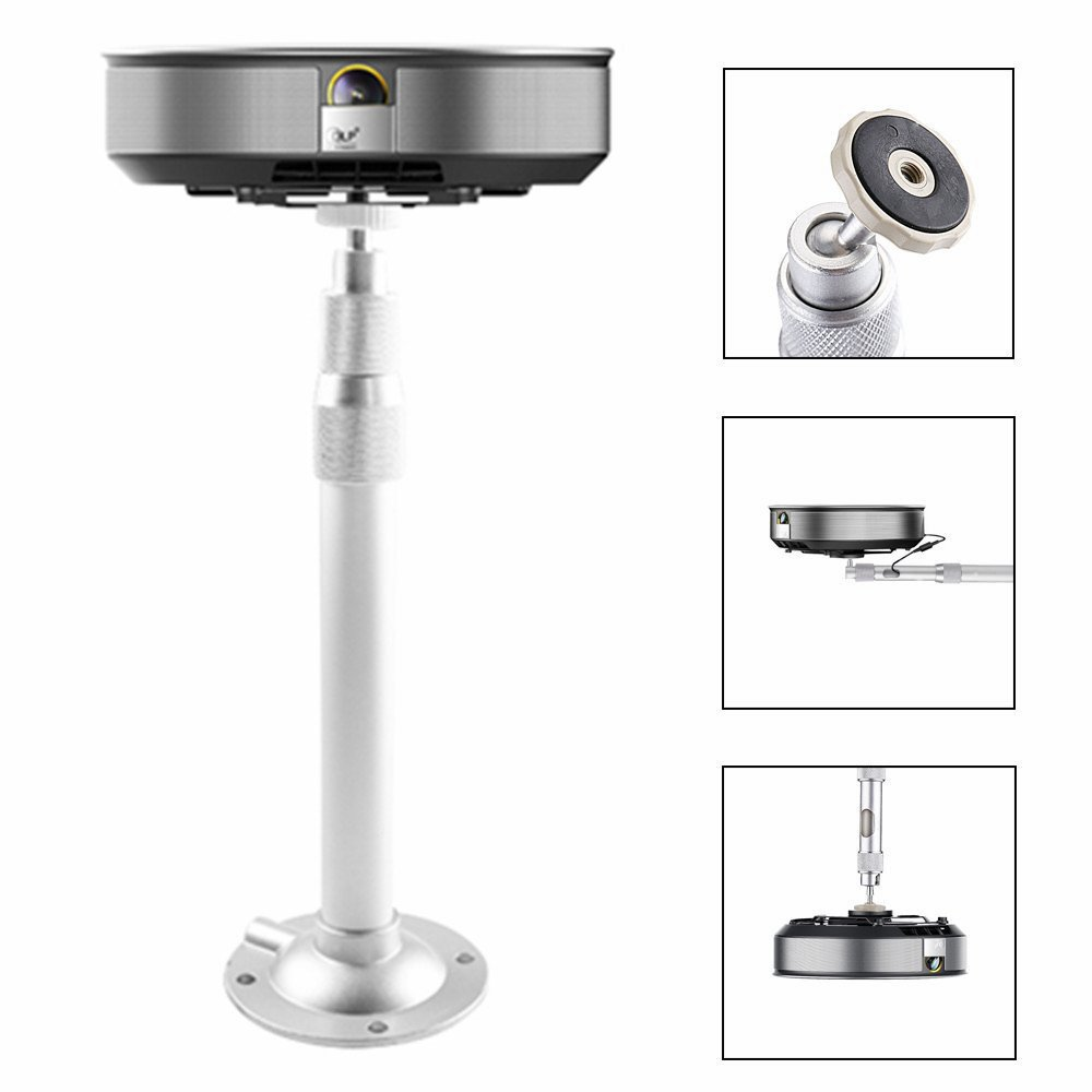 Auledio Projector Mount, Universal Extendable Projector Ceiling Mount Wall Bracket with Adjustable Height up to 15.7'' - White