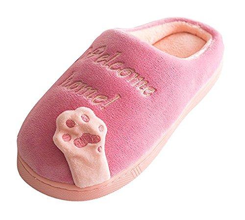 Slippers Dell'orso Scarpe Peluche Pattini Caldo Minetom Morbido Donna Casa Zampa Inverno Unisex D Cartone Uomo Antiscivolo Rosa Pantofole I6wzwnRZxq