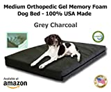 Medium Dog Bed | 34″ x 22″ x 4.5″ Medium Size | Orthopedic GEL Memory Foam 100% Made in USA- Best Luxury | Medium Size Breed | Washable Pet Bed | Puppy Bed Too |Grey Plush Micro-Suede Review