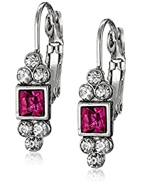 1928 Jewelry Silver-Tone Fuchsia and Crystal Petite Square Drop Earrings