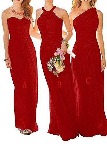 Robes De Demoiselle D'honneur En Mousseline De Soie Bowith Longue Robe De Bal Robe De Fête De Mariage Pour Les Femmes Rouge Un