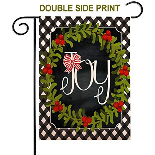 ZUEXT Christmas Joy Wreath Farmhouse Garden Flag 12.5 x 18 Inch, Rustic Welcome Quote House Yard Flag, Outside Holiday Garden Yard Decoration, Cotton Linen Seasonal Outdoor House Flags Double Sided (Garden House Flags)