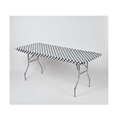 """Kwik Covers 30"""" x 72"""" Black/White Check Fitted Table Cover - Single: Industrial & Scientific"""