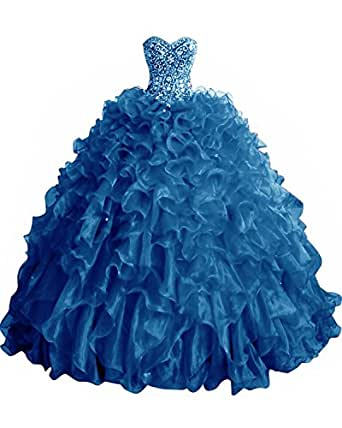 XSWPL Sweetheart Crystals Beaded Quinceanera Dresses Organza Prom Dress for Sweet 16 Blue US4