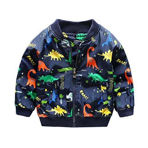 (Moonker Baby Coat 2-6 Years Old,Toddler Boys Girls Kids Cute Dinosaur Jacket Clothes Fall Winter Windbreaker Outerwear (4-5 Years Old, Blue))