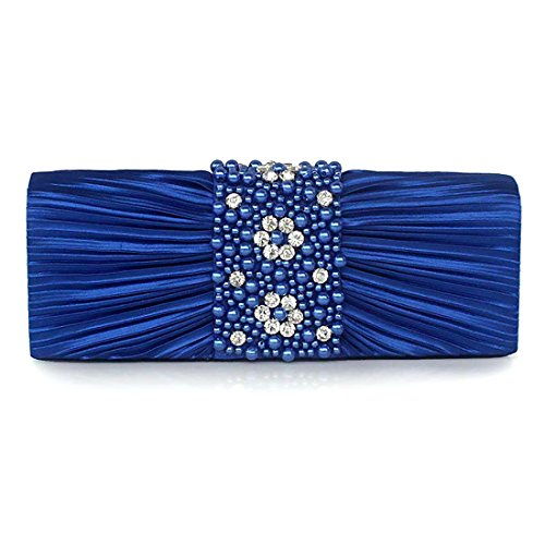 Purse Prom Handbag Clutch Beads Blue Bag Evening Wedding Party Silk Rhinestone Women with for zxFUy1Y