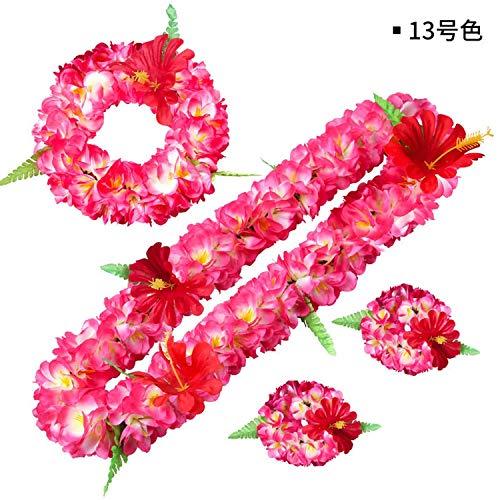 (Just XiaoZhouZhou Artificial Flowers Hawaii Leis Garland Necklace Headband Tropical Summer Beach Birthday Wedding Party Decor Supplies,13,Necklace)