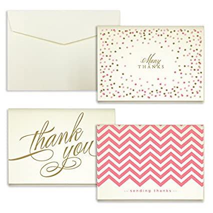 Amazon Com Coral Assortment Folded Thank You Cards Pack Of 24