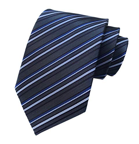 Men's Dark Grey Blue Geometric Striped Tie Trendy Patterned Fashion Suit Necktie