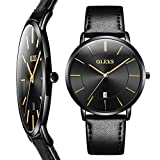 Thin Mens Watch,Simple Watches for Men,Black Leather Business Wrist Watch,Mens Watches Clearance with Calendar,Men's Watch Black Face,Fashion Wrist Watches for Men,Waterproof Quartz Minimalist Watch