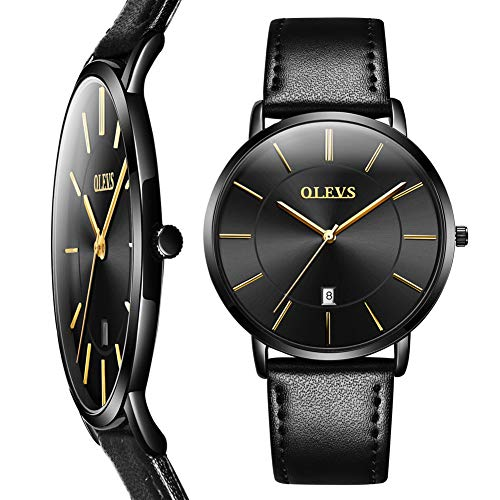 Mens Watch Black Ultra Thin,Mens Minimalist Watch Leather,Business Watches for Men,Men's Black Dress Watch Black Face,30M Waterproof Quartz Wrist Watches,Simple Thin Watch with Date,Reloj de Hombre