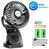 Battery Operated Clip on Stroller Fan - 40 Hours Portable Desk Mini Fan with Rechargeable 4400mA Battery, USB Powered Auto Oscillating Fan for Baby Stroller Home Office Outdoor Travel (2019 Upgrade)