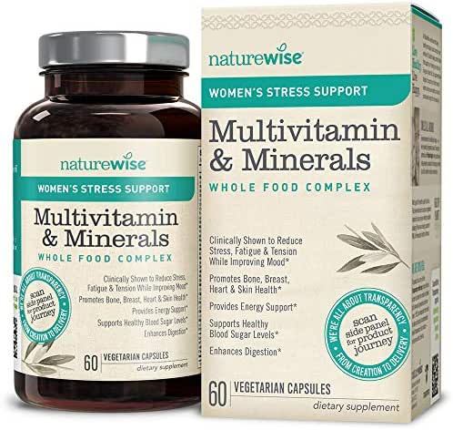 NatureWise Women's Multivitamin Whole Food Complex with Stress Support | Vitamins for Healthy Heart & Bones + Sensoril Ashwagandha to Reduce Stress (Watch Video in Images) [1 Month - 60 Count]