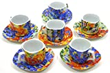 Porcelain SET OF 6 MUGS TROM WITH PLATE decorated in TRENCADIS Gaudí style. (Colour AURORA). 9.84'' x 2.56'' x 8.27''