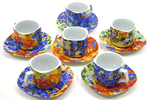 Porcelain SET OF 6 MUGS TROM WITH PLATE decorated in TRENCADIS Gaudí style. (Colour AURORA). 9.84'' x 2.56'' x 8.27'' by ART ESCUDELLERS