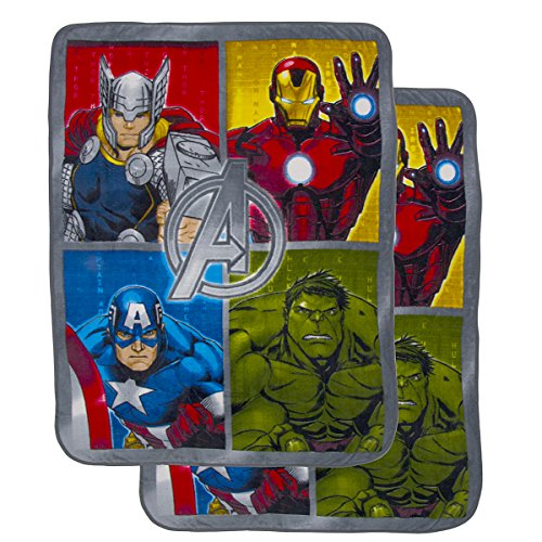"""2 Pack Cozy Inside Out Or The Avengers Soft Fleece 46x60"""" Plush Throw Blankets For Kids Girl ()"""