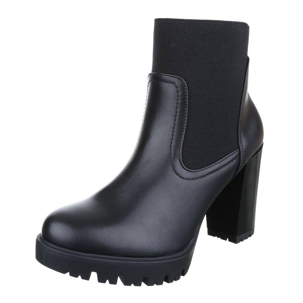 Ital-Design High Heel Stiefeletten Damenschuhe Schlupfstiefel Pump Moderne Reißverschluss Stiefeletten  37 EU|Schwarz 908-2A