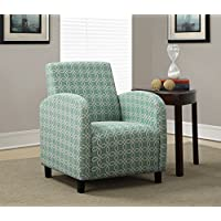 Monarch Specialties Faded Green Angled Kaleidoscope Fabric Accent Chair, 33-Inch
