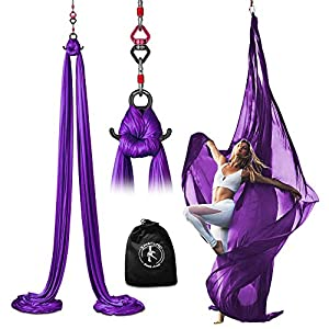 X Habits Pro Professional Aerial Silks Equipment for All Levels – Medium Stretch Aerial Yoga Swing & Hammock Kit…