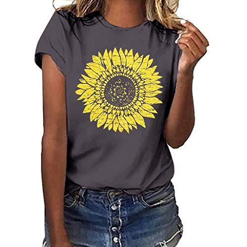 DondPO Sunflower T-Shirt Women Cute Funny Graphic Tee Teen Girls Casual Short Sleeve Tunic Shirt Tops Blouse