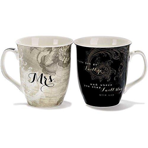 Where You Go Mr. and Mrs. Ruth 1:16 18 Ounce New Bone China Coffee Mug Set of 2