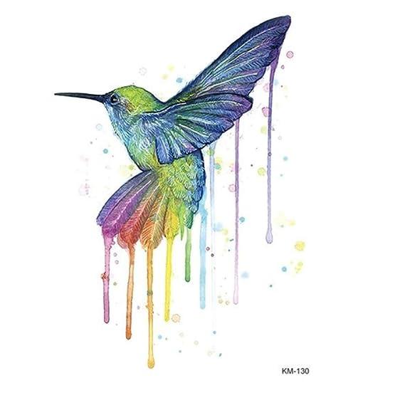 Justfox – Tatuaje temporal, diseño de colibrí de pájaro multicolor ...