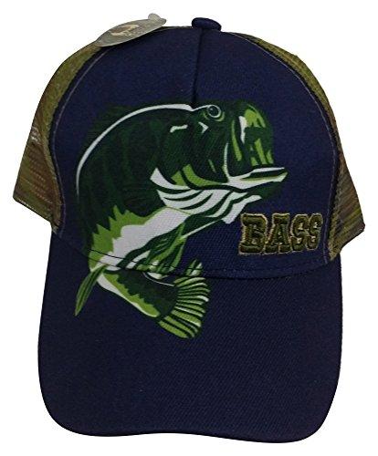 3oaks Adjustable Camouflage Hunting and Fishing Logo Hats (Blue w/ Bass Logo)
