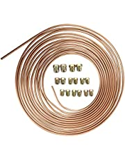 AuInLand 25 FT 3/16 in Brake Line Tubing Kit, Copper-Coated Iron Break Line, with 16 Fittings