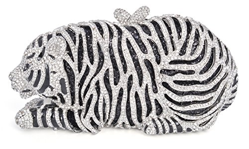 Tiger Clutch (mossmon Luxury Crystal Clutches For Women Tiger Evening Bag (Silver))