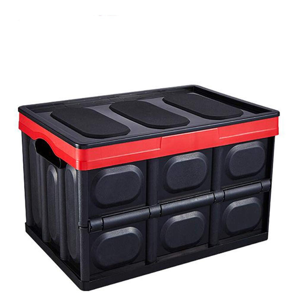 MYLJX Car Trunk Organiser, Multi-Function Foldable Auto Car Storage Boot Organiser Storage Box, Collapsible Shopping Tidy Storage Box for Car, Waterproof-black-56L