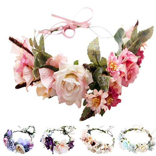 Handmade Adjustable Flower Wreath Headband Halo Floral Crown Garland Headpiece Wedding Festival Party (Series 2-Pink)