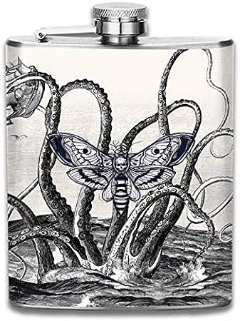 Petaca de acero inoxidable portátil de moda de barco marino de calamar gigante, botella de whisky para hombres y mujeres de 8 oz