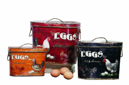 Creative Co-Op Decorative Rooster and Eggs Tin Box Set ()