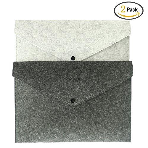 Felt Envelopes - 2 Pack A4 Filing Envelopes File Document Folder Felt Holder Handbag Button Closure By Kercan (No Handle)