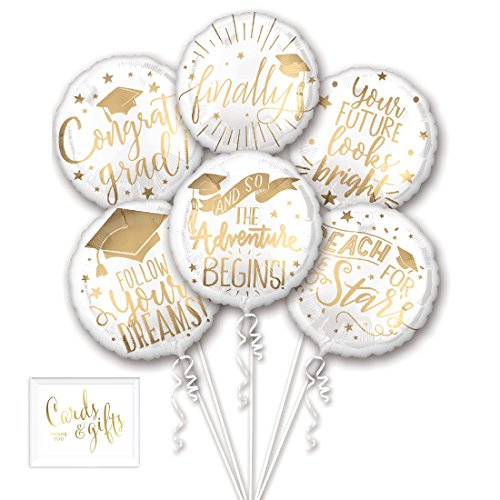 Andaz Press Balloon Bouquet Party Kit with Gold Cards & Gifts Sign, Grad Messages for Graduation Foil Mylar Balloon Decorations, 1-Set -
