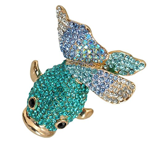 TTjewelry Charming Blue Fish Rhinestone Crystal Brooch Pin Animal Gold-Tone