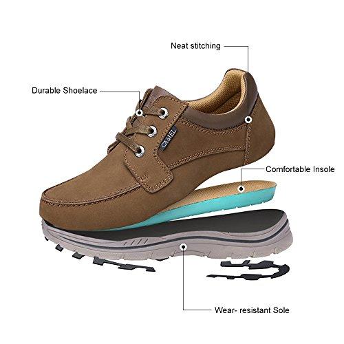 Camel Heren Casual Leer Mode Sneakers Bedrijf Breed Lichtgewicht Lace-up Oxford Schoenen Voor Wandelen Atletisch Bruin
