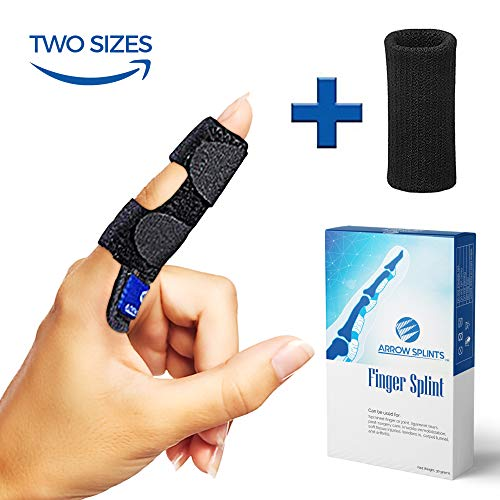 (Trigger Finger Splint - Mallet Finger Brace + Finger Sleeve w/Built-in Support for Arthritis Pain, Sport Injuries, Basketball, Baseball, Volleyball, Bowling fits Index, Middle, Ring, Pinky)
