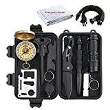 Toogoo Emergency Survival Kit 13 in 1, Mini Survival Gear Kit Outdoor Survival Tool with Thermal Blanket Carabiner Bracelet Fire Starter More for Adventure Outdoors Traveling Hiking